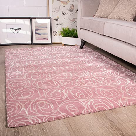 Amazon blush pink floral roses flower design pattern living blush pink floral roses flower design pattern living room woollen arealenn area rug 53quot mightylinksfo