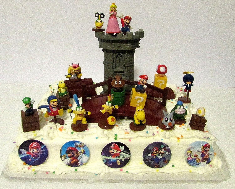 Pleasing Super Mario Brothers 25 Piece Deluxe Game Scene Birthday Cake Funny Birthday Cards Online Unhofree Goldxyz