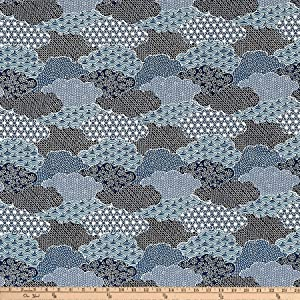 Fabri-Quilt 0569430 The The Moon Rabbit Oriental Abstract Garden Blue Fabric by the Yard