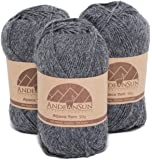 Alpaca Yarn Blend FINGERING Weight Skeins - SET OF 3 SKEINS (Grey) - 654 Yards Total / 150 Grams - 5.28 Ounces Total - Perfect for crocheting & knitting - GREY