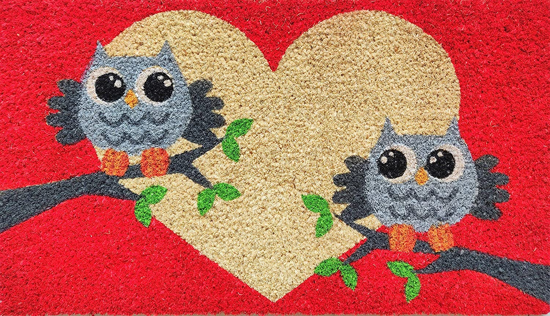 All Weather Exterior Doors 16x28 Animal Bird Two Owl on Red Normal Red Natural Front Door Cranberry Mats Designer Natural Coir Non Slip Doormat for Patio