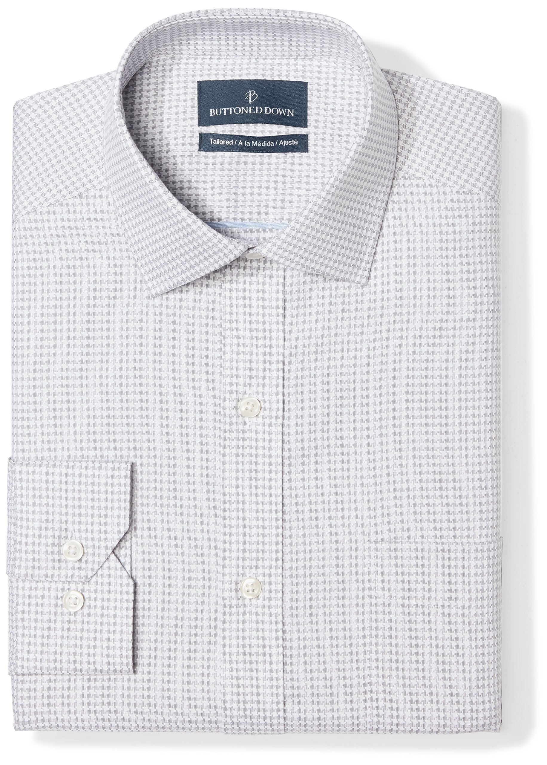Buttoned Down Men's Tailored Fit Spread-Collar Pattern Non-Iron Dress Shirt, Grey Houndstouth, 16'' Neck 33'' Sleeve