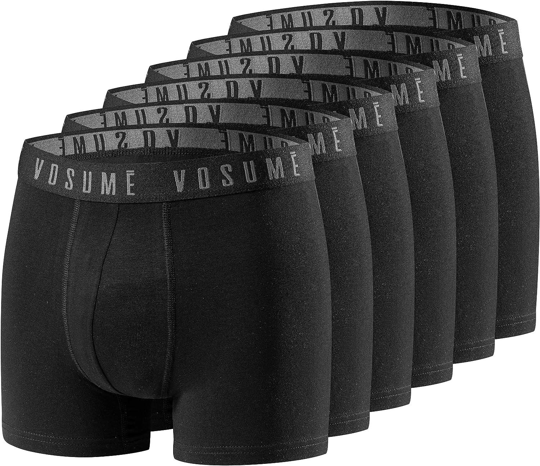 VOSUME /® Herren Premium Boxershorts 6 Paar Sportliches Design Perfekte Passform