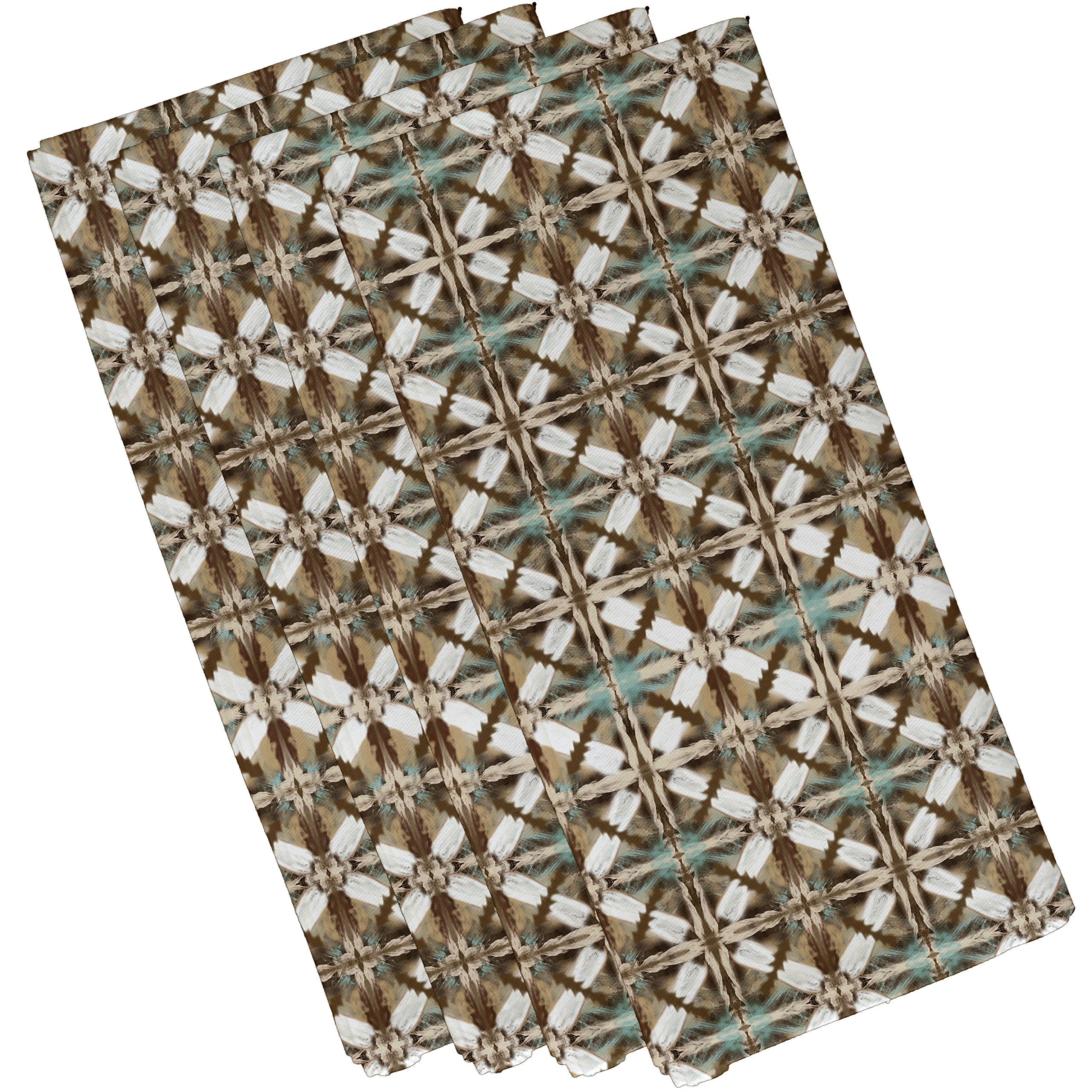 E by design N4G771BR1 Beach Tile Geometric Print Napkin (Set of 4), 19'' x 19'', Brown by E by design