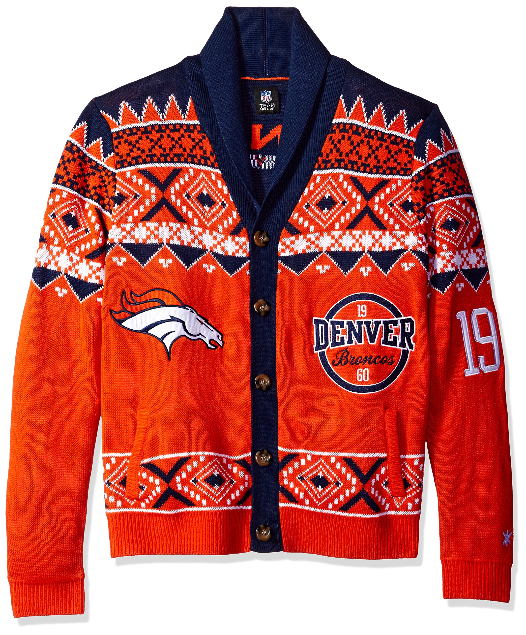 Denver Broncos 2015 Ugly Cardigan Double Extra Large