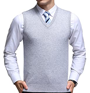 88937f036dc92f FULIER Mens Winter V-Neck Sleeveless Vest Classic Business Gentleman  Knitwear Knitted Waistcoat Sweater Cardigans
