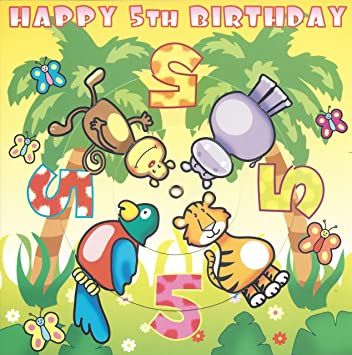 Twizler Spinning 5th Birthday Card For Child With Jungle Animals 5 Year Old Age