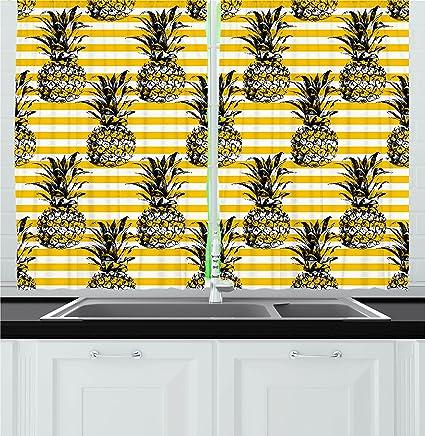 Ambesonne Grunge Decor Kitchen Curtains, Retro Striped Background With  Pineapple Figures Vintage Hippie Graphic,