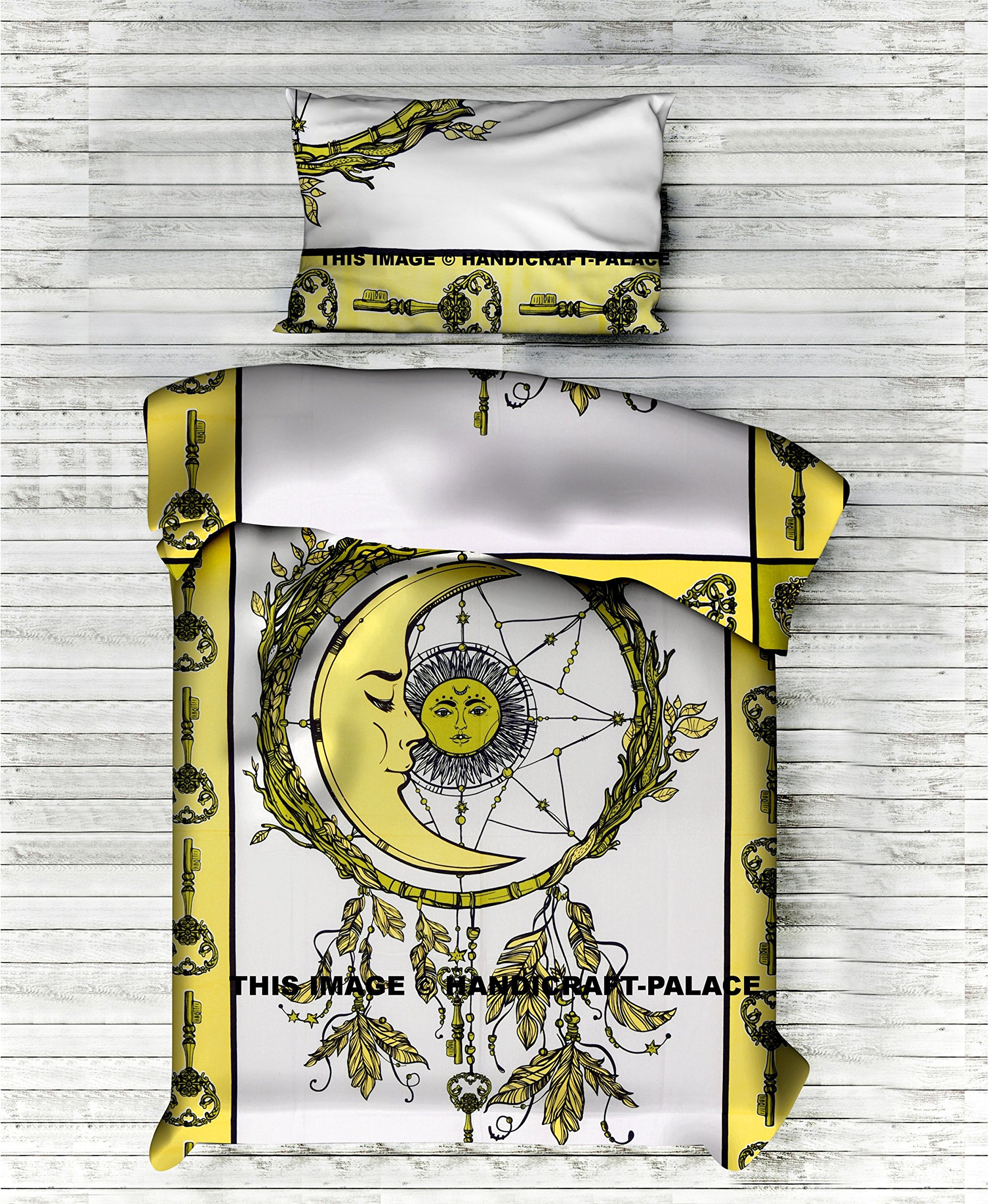Handicraft-Palace Indian Medallion Twin Size Cotton Doona Duvet Cover Set Hippie Bohemian Mandala Blanket Quilt Cover Bedspread Bedding Sun Moon Comforter Set