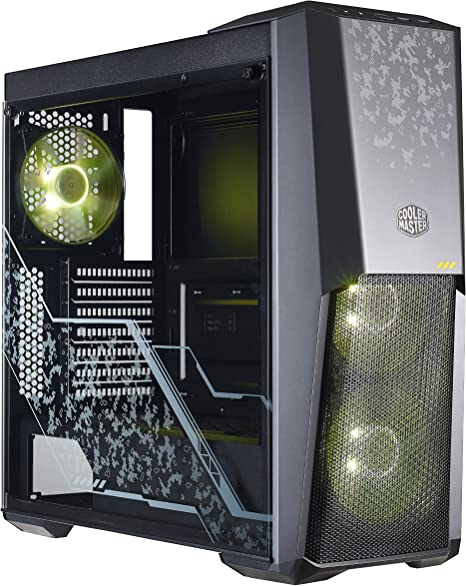 Cooler Master MasterBox MB500 RGB ATX PC Case with Half Mesh Panel Glass Side Panel Flexible Air Flow Configurations RGB 3 x 120mm Pre-Installed Fans
