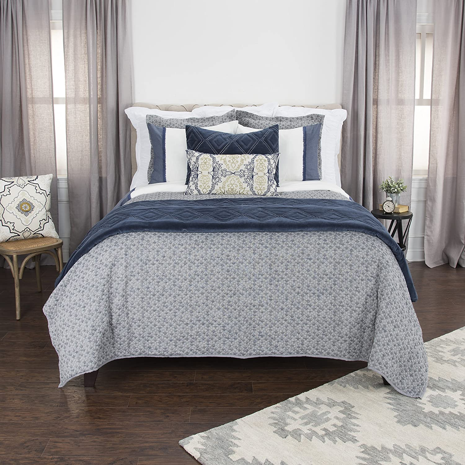 Standard Grey Rizzy Home Giotto Quilted Bedding Sham