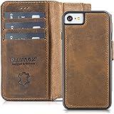Blumax Echt Ledertasche abnehmbare magnetische Lederhülle Apple iPhone 8 iPhone 7 & iPhone 6 6s 4,7 Zoll mit Kartenfach Handytasche antik vintage dunkel Braun