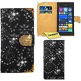 FoneExpert® Nokia Lumia 735 730 - Etui Housse Coque Bling Diamant en Cuir Portefeuille Wallet Case Cover pour Nokia Lumia 735 730 + Film de Protection d'Ecran (Noir)