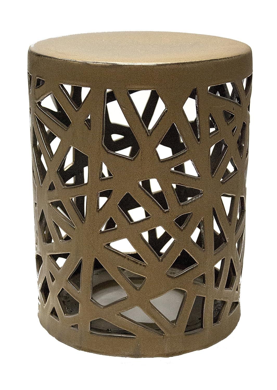Amazon.com: Sagebrook Home-Openwork Cylinder Ceramic Garden Stool ...