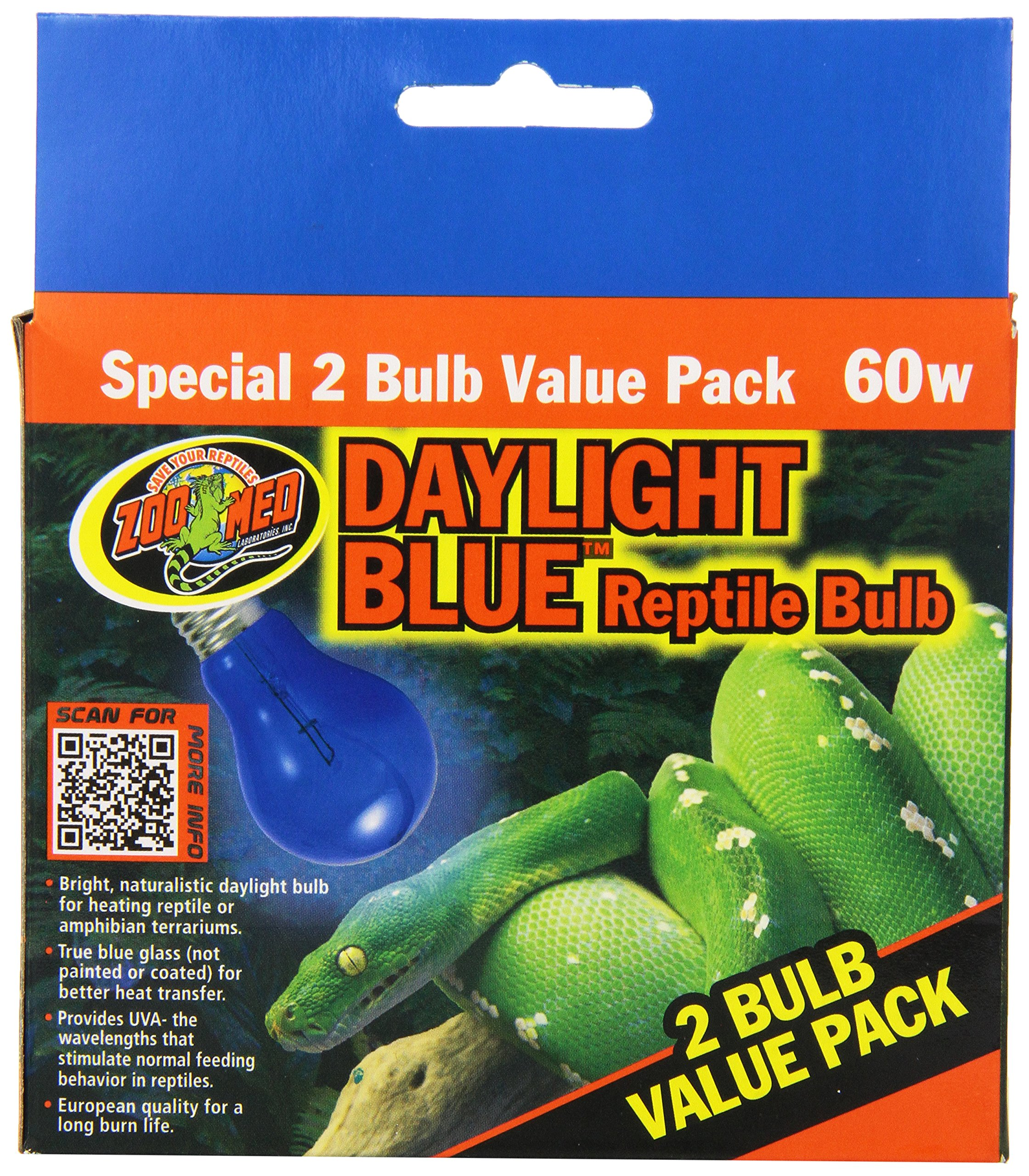 Zoo Med 2-Pack Daylight Blue Reptile Bulb, 60-watt by Zoo Med (Image #3)