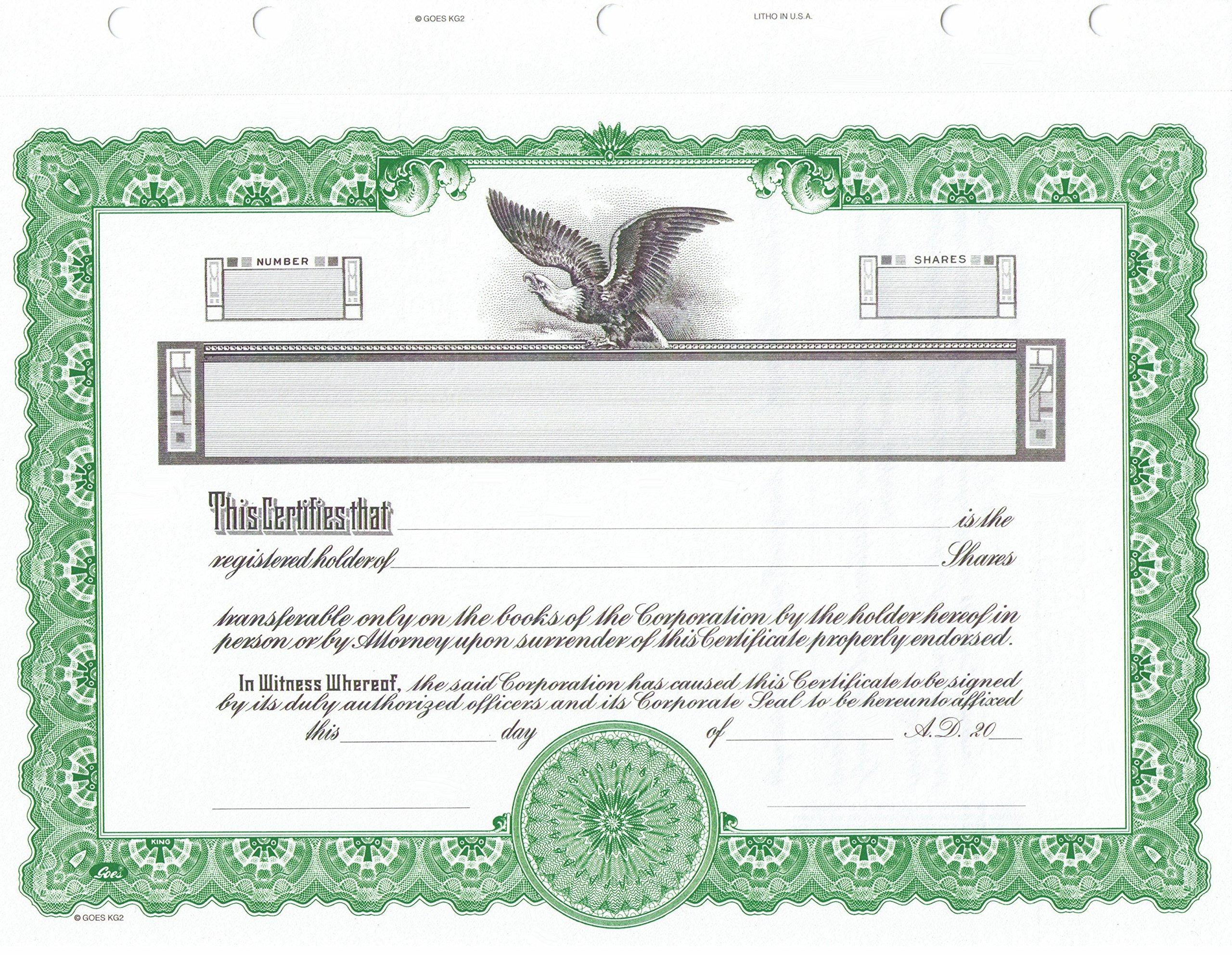 KG 2 Stock Certificate, Green Border, Pack of 15