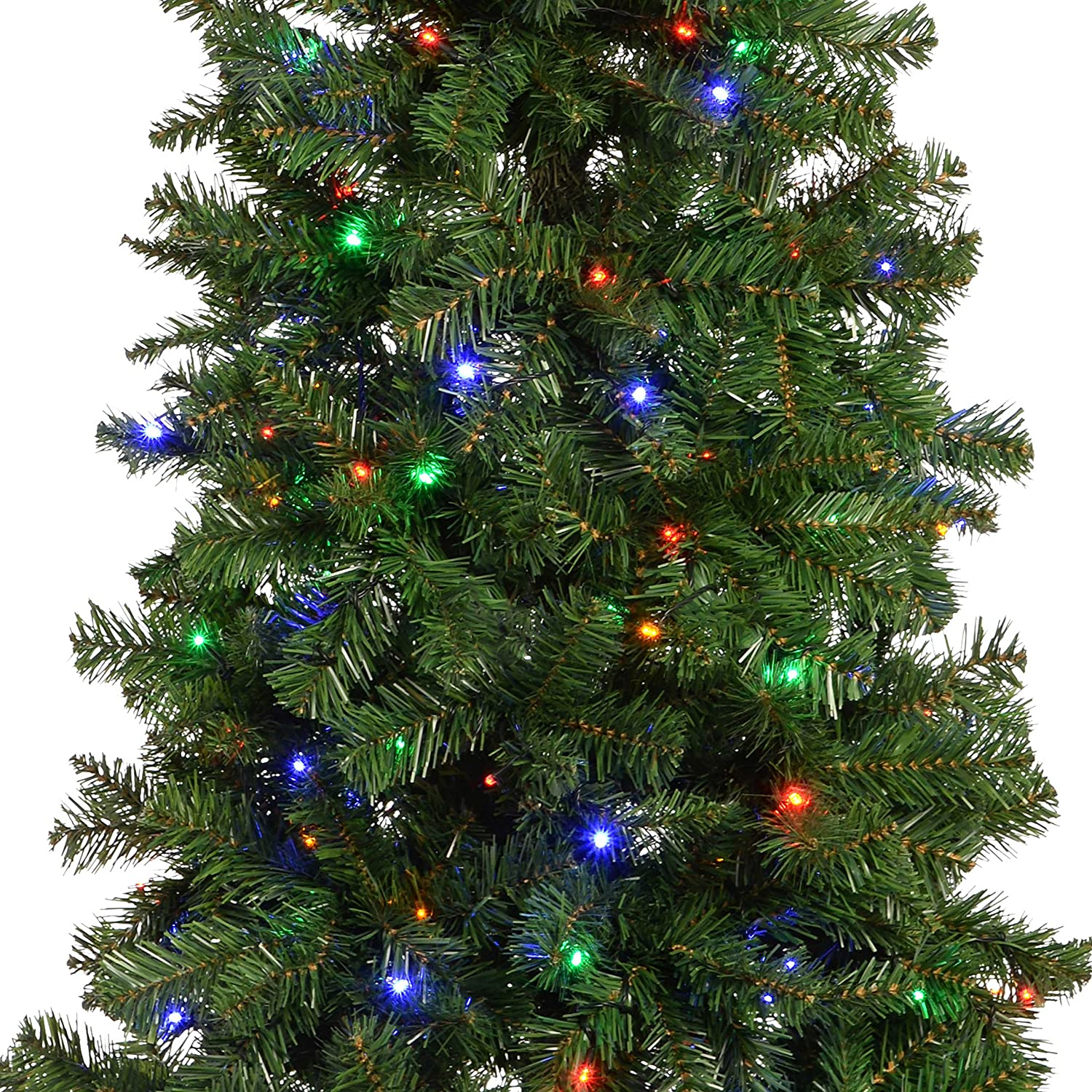 WeRChristmas Pre-Lit Slim Christmas Tree with 200 Multi Colour LED ...