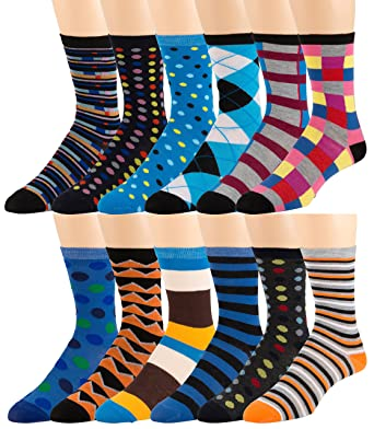 e36b7313d60 Men s Pattern Dress Funky Fun Colorful Socks 12 Assorted Patterns Size 6-12  (Variation D) at Amazon Men s Clothing store