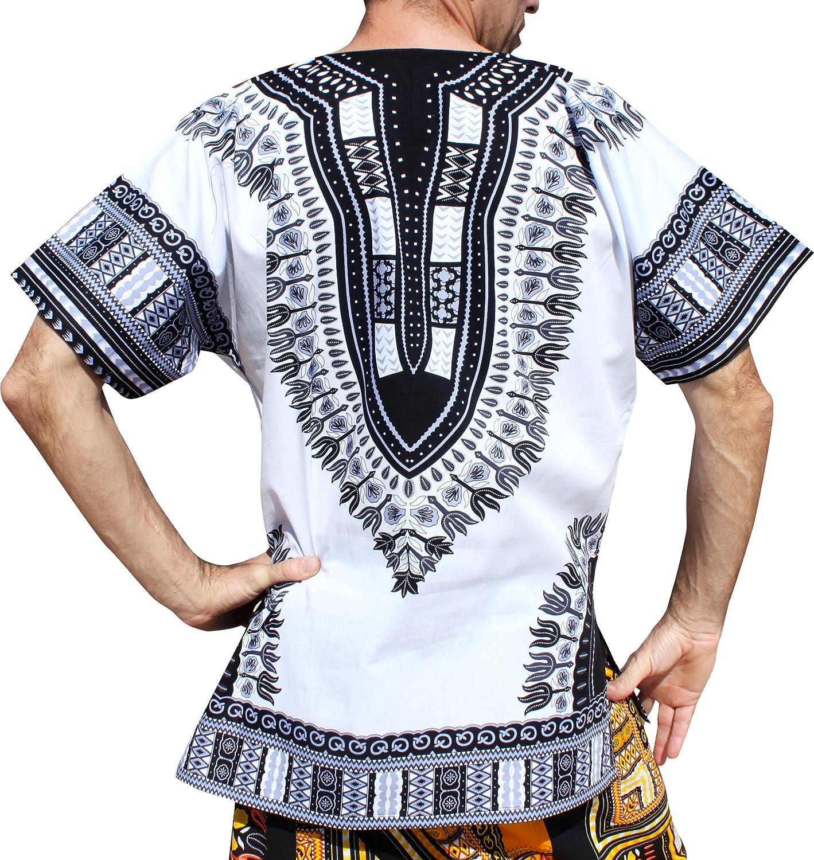 RaanPahMuang Traditional African Dashiki Shirt in Light Thin Grade Batik Cotton