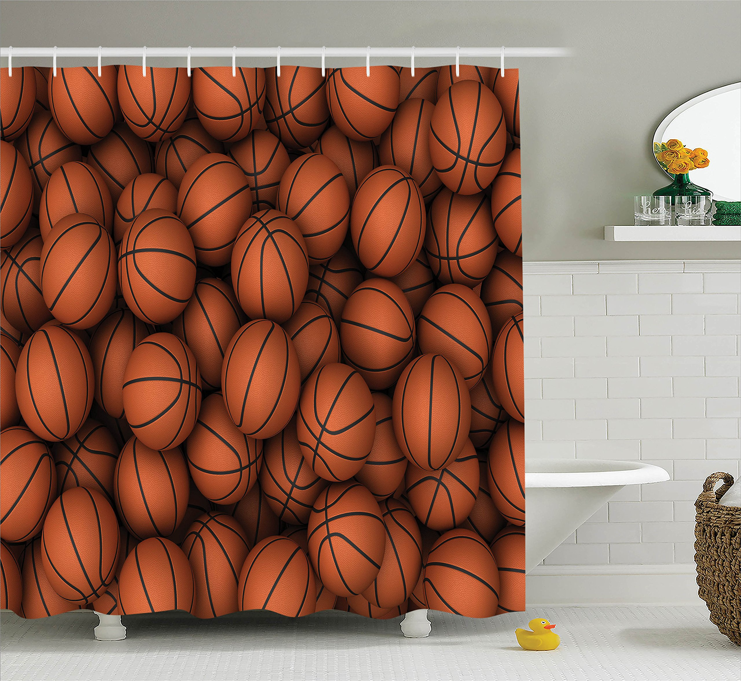 Ambesonne Sports Decor Collection, Basketballs The Two-Handed Slam Practice Athletic Events Illustration Image Pattern, Polyester Fabric Bathroom Shower Curtain, 84 Inches Extra Long, Dark Orange