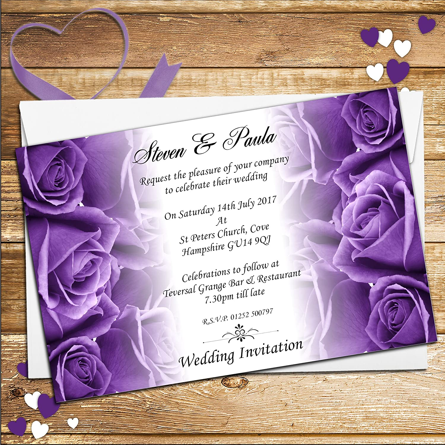10 Personalised Purple Roses Wedding Day Evening Invitations N62 ...
