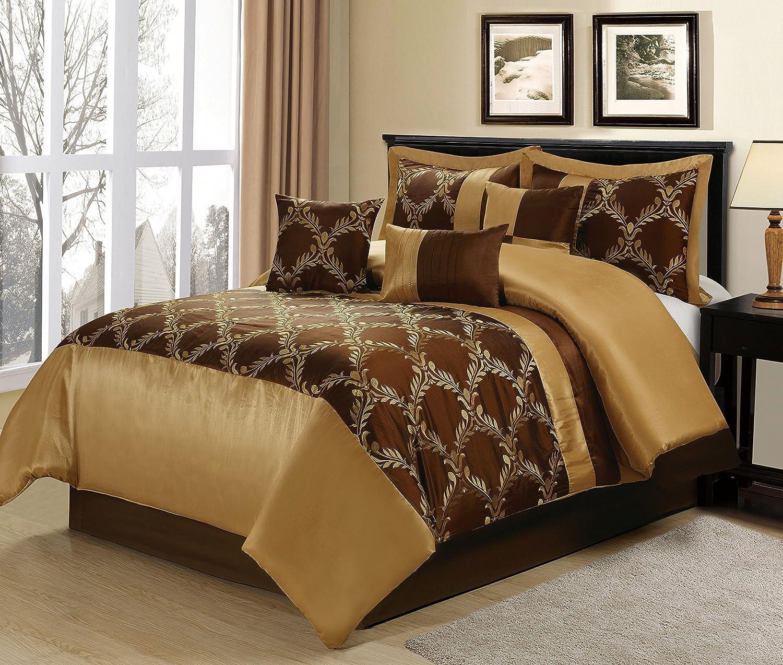 bedding damask com homes gold queen comforter piece ip accent better and gardens walmart set
