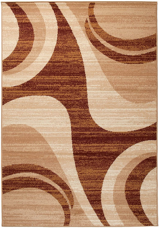 Carpeto Rugs Tapis Salon Beige 60 x 100 cm Moderne Vagues//Monaco Collection