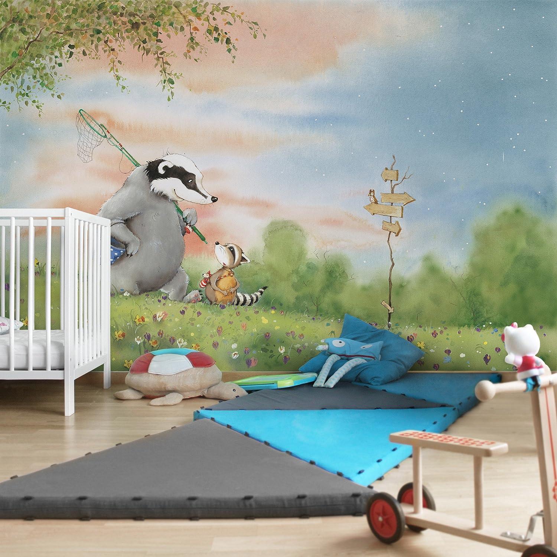 Kinderzimmer Tapeten - Vliestapeten Premium - Wassili und Sibelius am Wegweiser - Fototapete Breit Vlies Tapete Wandtapete Wandbild Foto 3D Fototapete, Größe HxB  290cm x 432cm