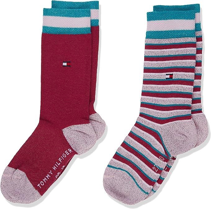 Tommy Hilfiger Th Kids Sock 2p Lurex Stripe Calcetines, Multicolor (Sparkling Grape 020), 27-30 (Talla del fabricante: 027) (Pack de 2) para Niñas: Amazon.es: Ropa y accesorios