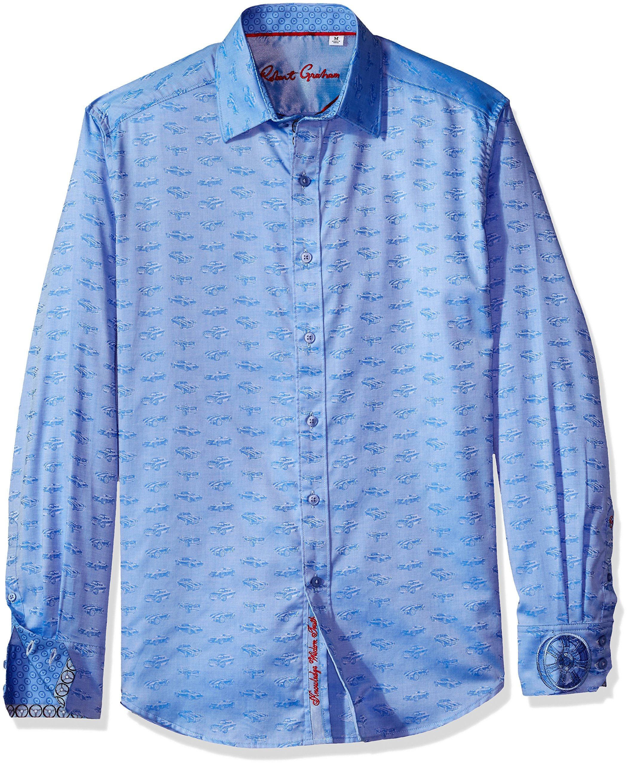 Robert Graham Men's Car Rally L/s Classic Fit Shirt, Blue, Large