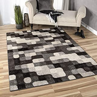 """product image for Orian Rugs American Heritage Halo Blocks Area Rug, 5'3"""" x 7'6"""", Gray"""