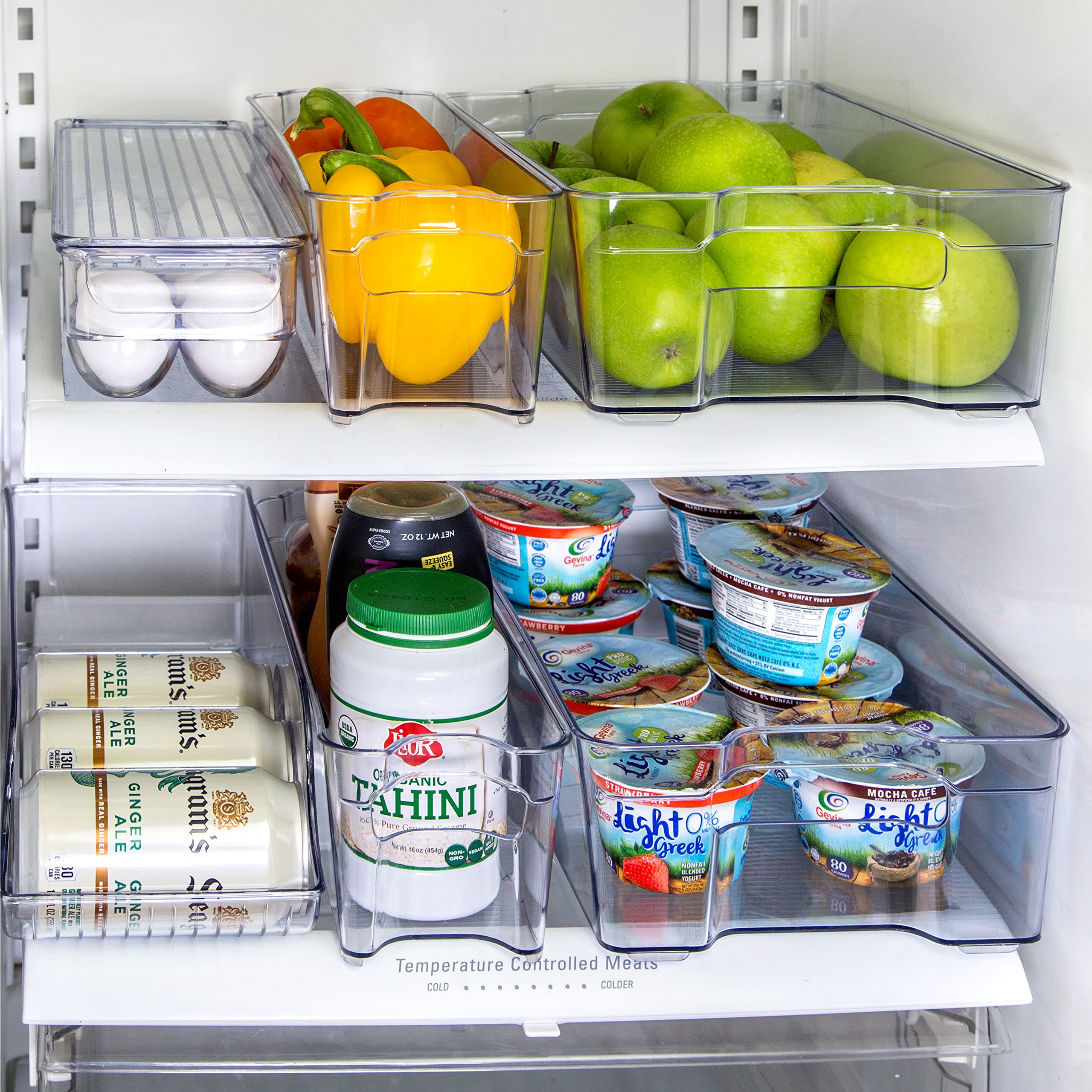 Refrigerator Organizer Set Of 6 Storage Bins, Including Drink Holder And  Egg Holding Tray,