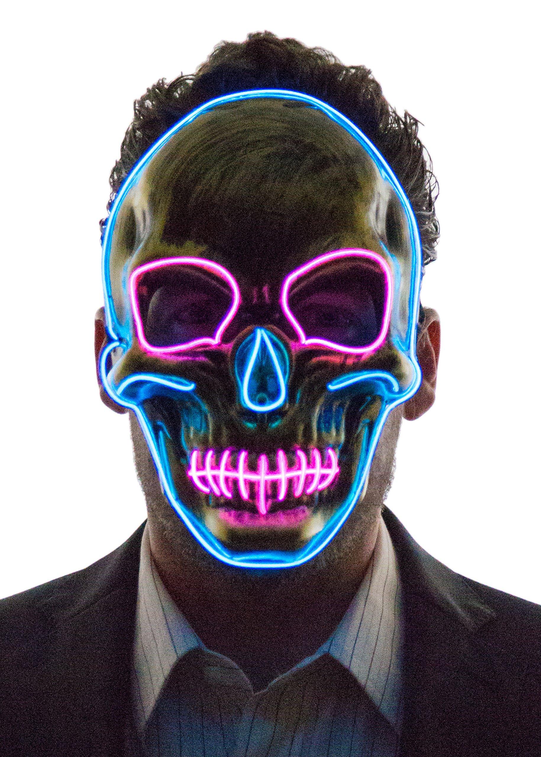 Neon Nightlife Men's Light up Scary Death Skull Mask, Blue & Pink