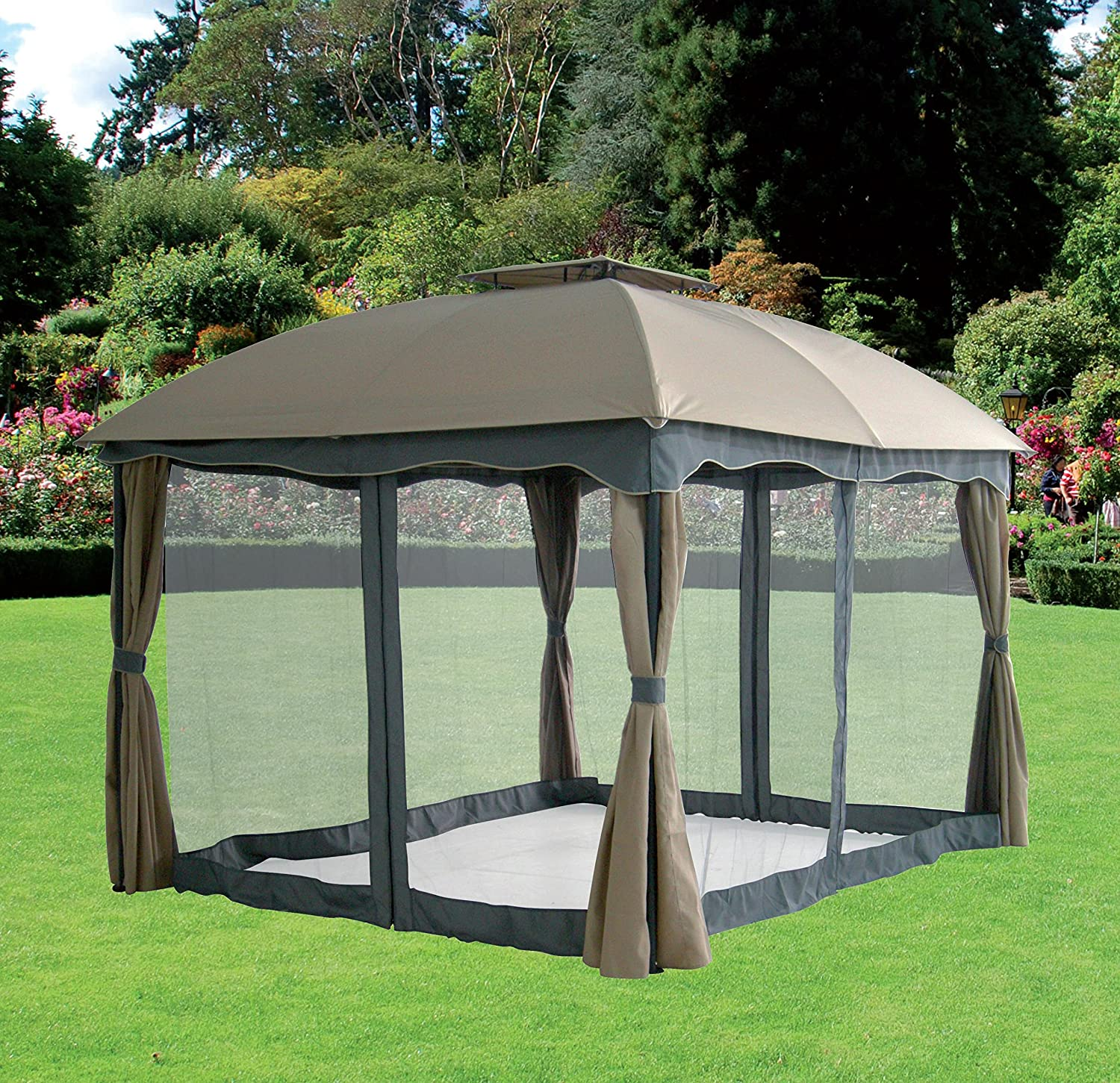 GAZEBO MOD. SIDNEY CON CORTINAS Y PANTALLAS ANTIINSECTOS MT. 3 X 3, COLOR BEIGE: Amazon.es: Hogar