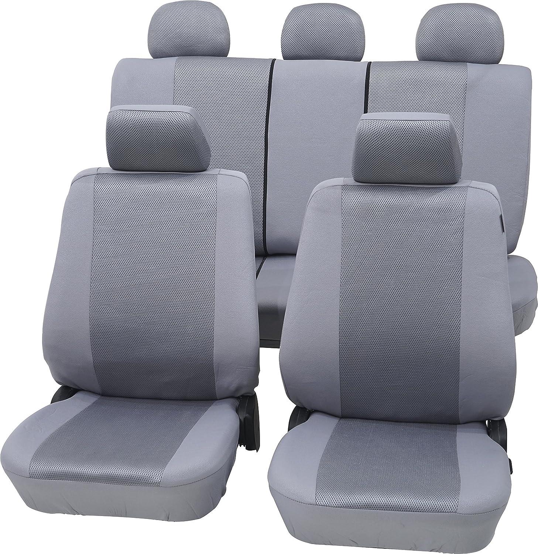 Cartrend 60119 Elegance Sitzbezug Komplettset Beige Grau Mit Dokunaht Seitenairbag Geeignet Auto