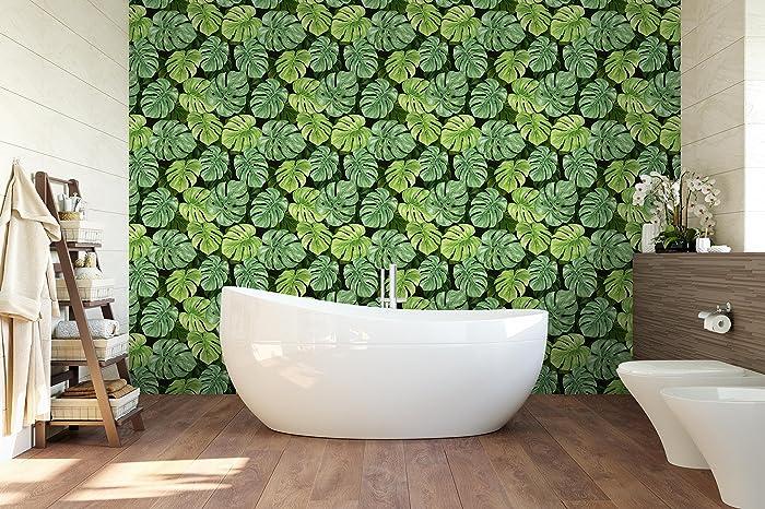Amazon.com: Green Monstera Leaf Removable Wallpaper Tropical Self ...