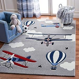 Safavieh Carousel Kids Collection CRK137F Airplane Hot Air Balloon Nursery Playroom Area Rug, 4' x 6', Light Grey / Red