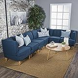 Milltown Mid Century Modern Fabric 7 Piece Sectional Sofa Set (Navy Blue)
