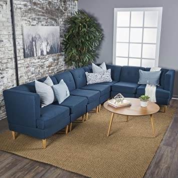 Christopher Knight Home 301874 Milltown Mid Century Modern Fabric 7 Piece  Sectional Sofa Set (Navy Blue)