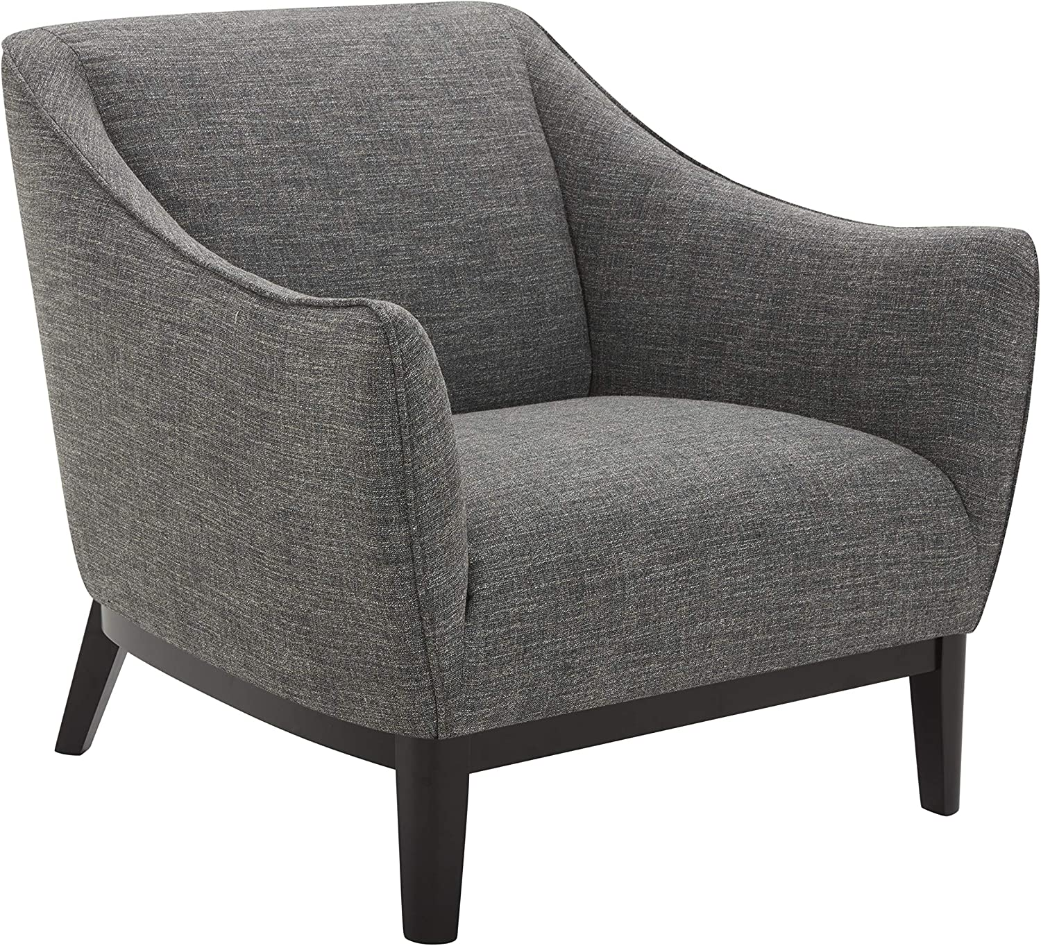 """Amazon Brand – Rivet Bayard Contemporary Accent Chair with Curved Armrests, 33.5""""W, Dark Grey"""