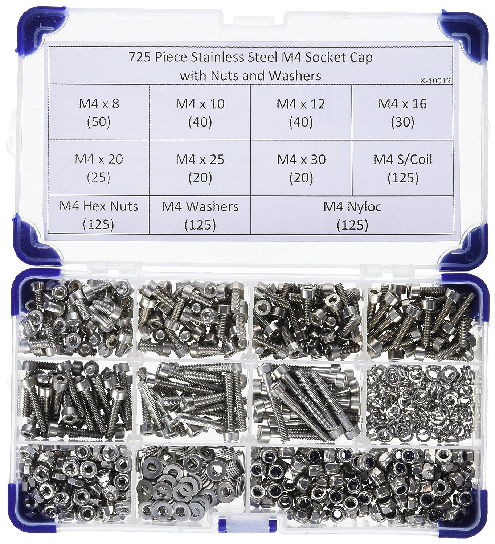 725 piezas AHC K-10019 4 mm M4 acero inoxidable casquillos gorra A2 juego de tornillos con arandelas y tuercas