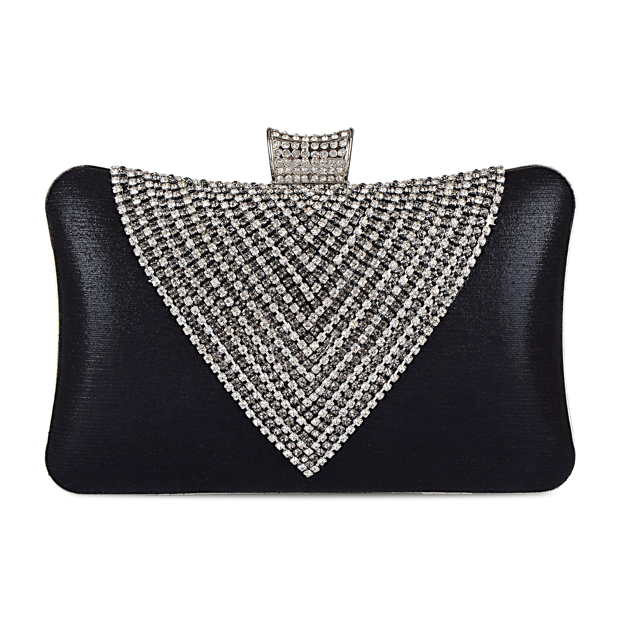 Women's Handbags Evening Envelope Rhinestone Beaded Clutches Bag, Black
