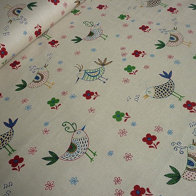 Cottage Collection Per Metre Mushroom Linen Look 100/% Cotton Fabric w// Birds