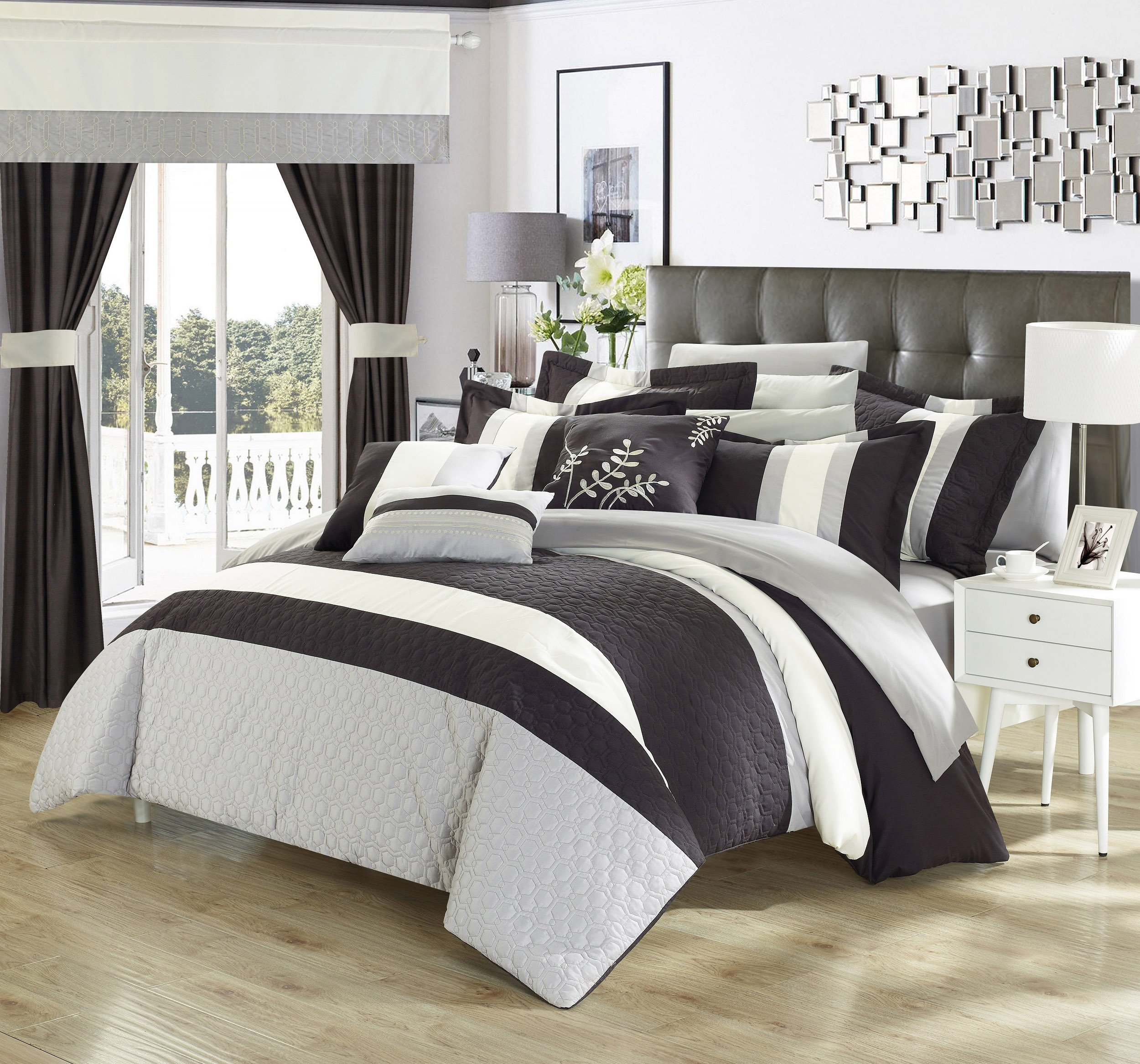 Perfect Home 24 Piece Emilio Complete Bedroom Set with Octagon Embroidery Color Block pattern. decor pillows, window treatments King Bed In a Bag Comforter Set Black With sheet set