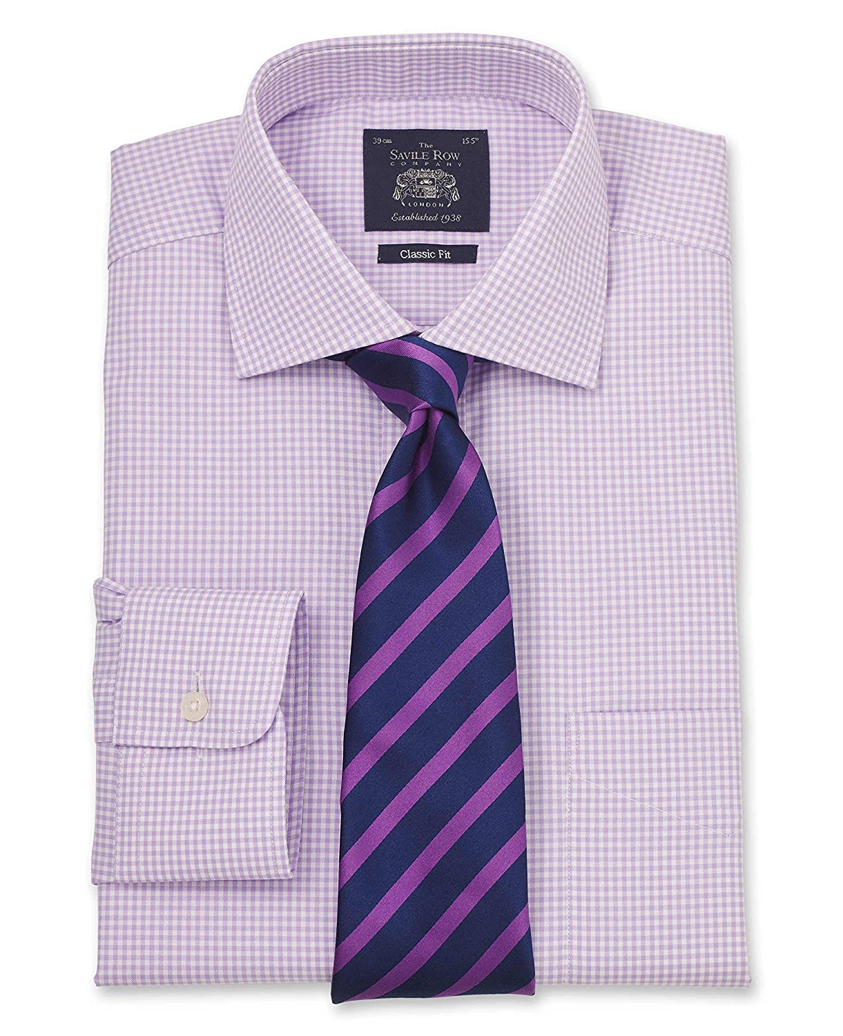 Savile Row Men's Lilac White Gingham Classic Fit Shirt - Single Cuff