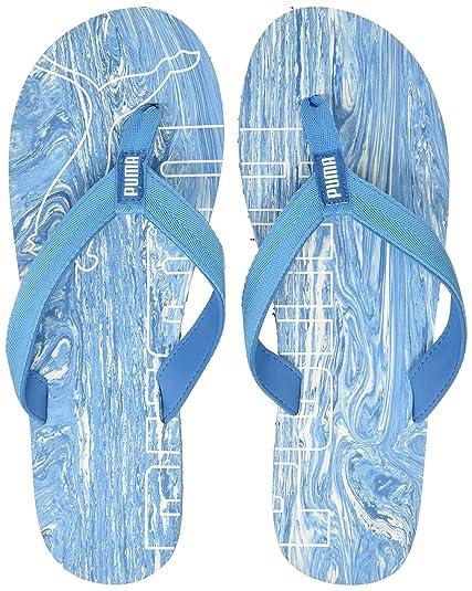 4cd5c47e0 Puma Men s Epic Flip V2 Marble Idp White and Blue Danube Hawaii Thong  Sandals - 11