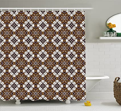 Chocolate Shower Curtain By Ambesonne Brown Toned Ancestral Batik Pattern With Floral Indonesian Motifs