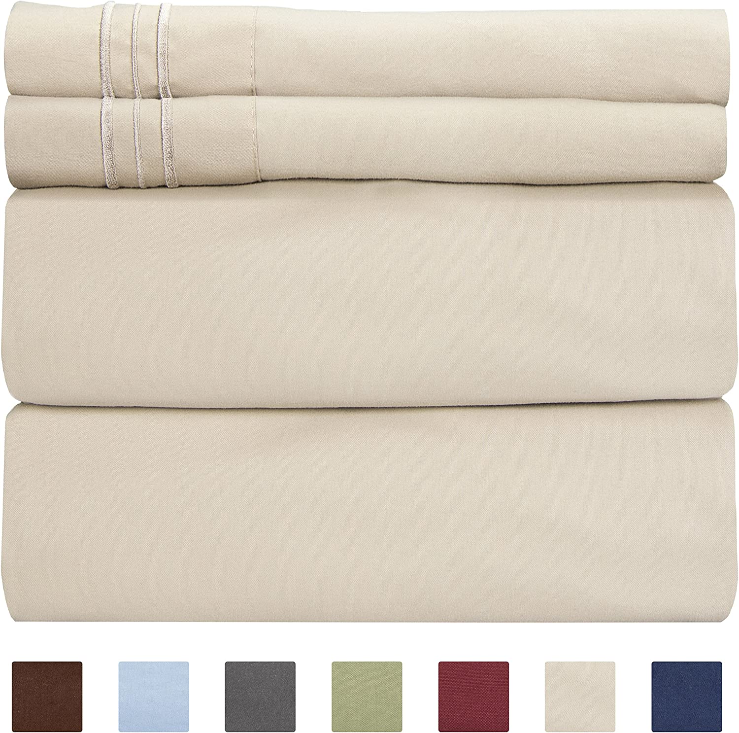 Full Size Sheet Set - 4 Piece - Hotel Luxury Bed Sheets - Extra Soft - Deep Pockets - Easy Fit - Breathable & Cooling Sheets - Wrinkle Free - Comfy – Beige Tan Bed Sheets - Fulls Sheets – 4 PC