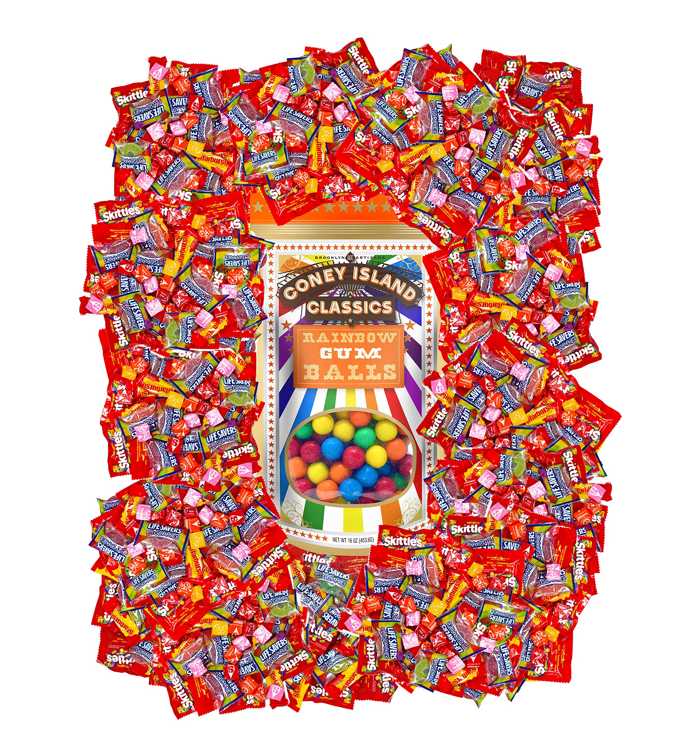 Holiday Bulk Candy Assortment Skittles, Starburst Life Savers Gummies and Coney Island Classics Gumballs, More Than 360 Fun Size Pieces 9.5 lbs (152 Oz) by Assortit