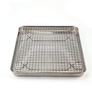 Stainless Steel Baking Sheet + Cooling Rack with Silicone Baking Mat :: 2 Piece Bakeware Set Size 16x12x1-inches :: Heavy Duty Cookware, 100% Nontoxic, Dishwasher Safe by ANACOCO
